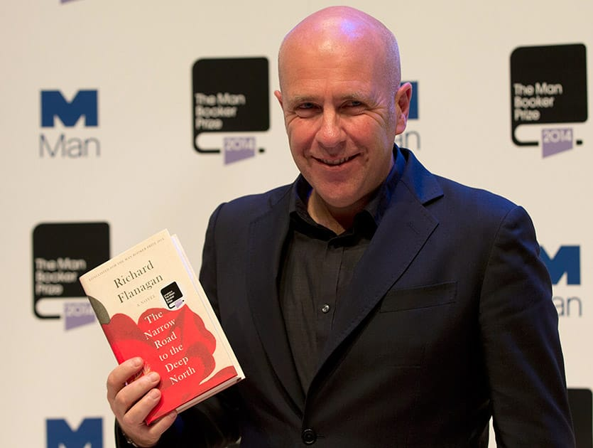 Man Booker prize 2014 nominee Australian author Richard Flanagan holds his book 'The Narrow Road to the Deep North', during a photocall for the Man-Booker for fiction 2014 at the Royal Festival Hall in London.