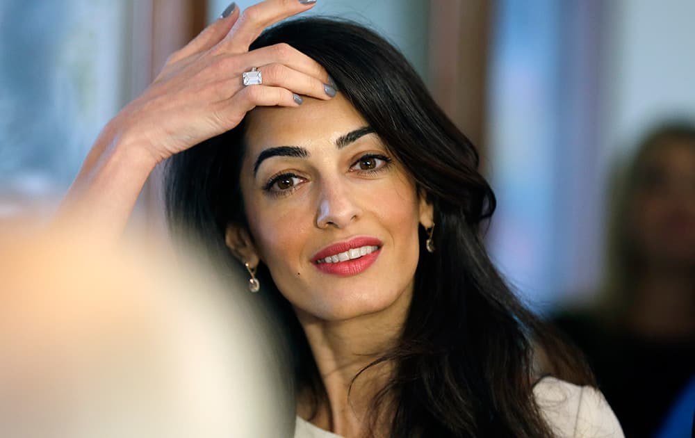 Lawyer Amal Clooney, attends a meeting with Greek Culture Minister Kostas Tassoulas, in Athens.