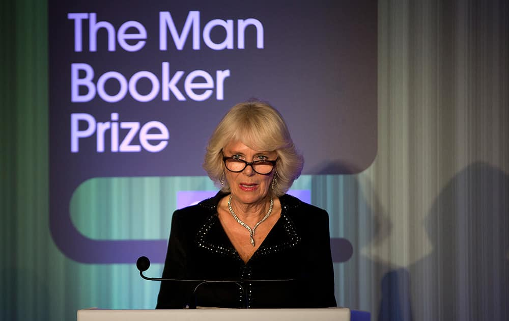 Camilla, Duchess of Cornwall speaks at the awards dinner for the Man Booker Prize for fiction 2014 at the Guildhall in London.