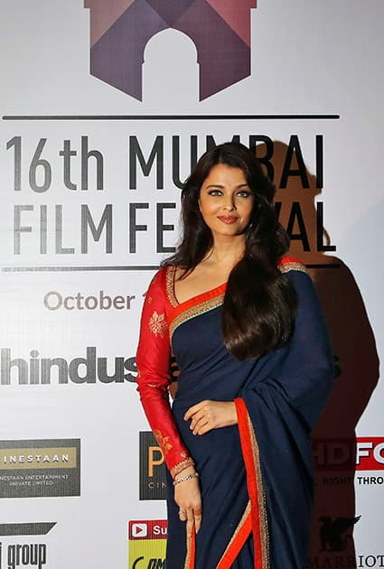 Bollywood actress Aishwarya Rai Bachchan arrives at the opening ceremony of the16th Mumbai Film Festival in Mumbai.