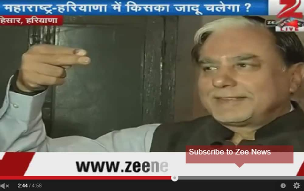 Essel Group chairman Dr Subhash Chandra casts his vote in Hisar.