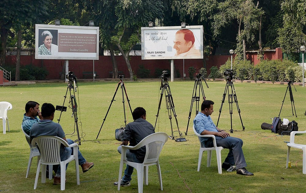 Only media personnel at the AICC office after the partys poor show in Haryana and Maharashtra elections, in New Delhi.