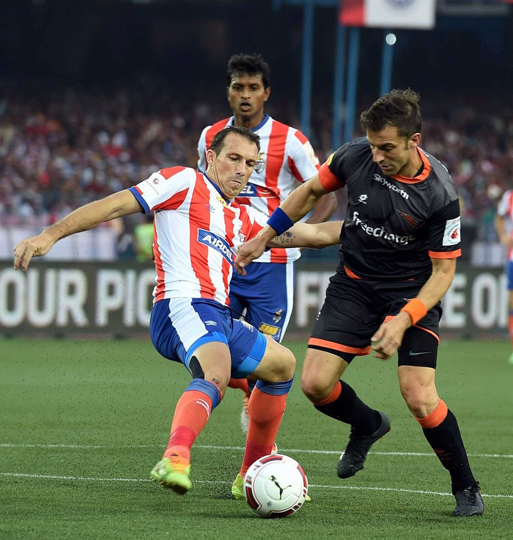 Delhi Dynamos FC Del Piero in action during ISL match against Atletico de Kolkata in Kolkata.