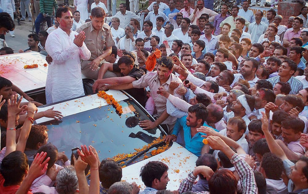 BJP candidate Captain Abhimanyu at a victory rally after his win in Assembly election, in Hisar.