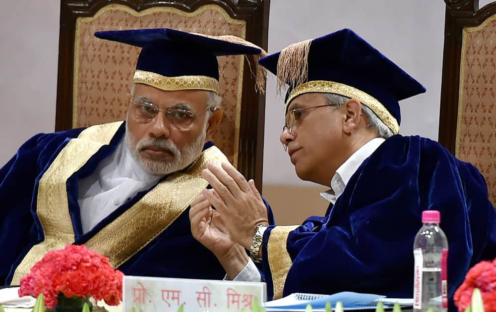 Prime Minister Narendra Modi and AIIMS Director, MC Mishra during the 42nd Convocation of the All India Institute of Medical Sciences in New Delhi.