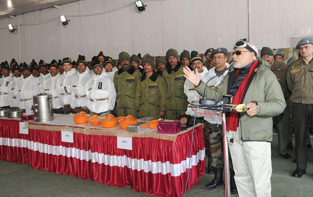 Prime Minister, Narendra Modi addressing the Officers and Jawans of the Indian Armed Forces, at Siachen Base Camp, during his surprise visit to Siachen.