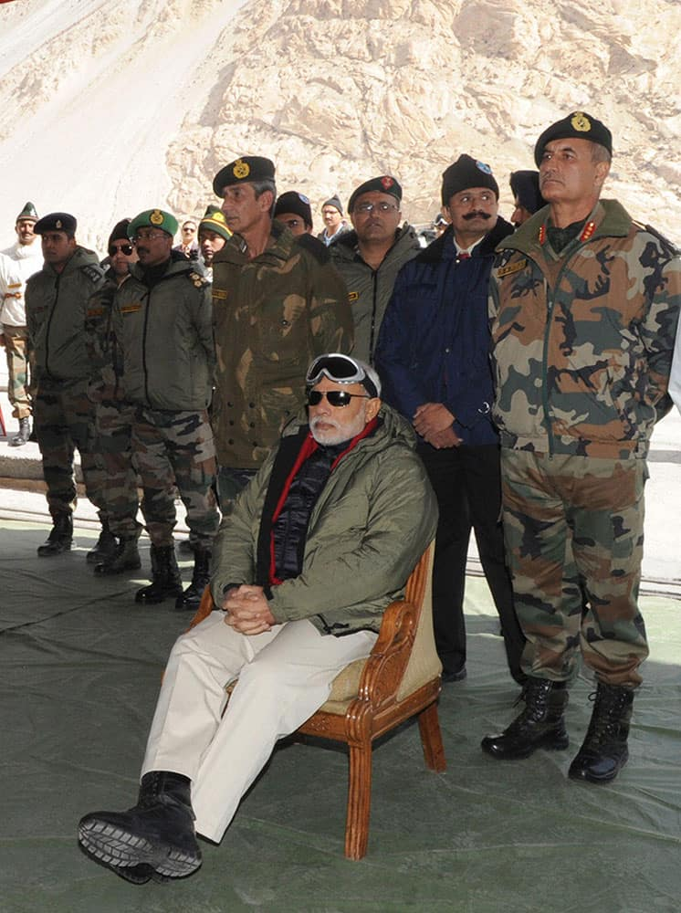 Prime Minister, Narendra Modi at Siachen Base Camp, during his surprise visit to Siachen.