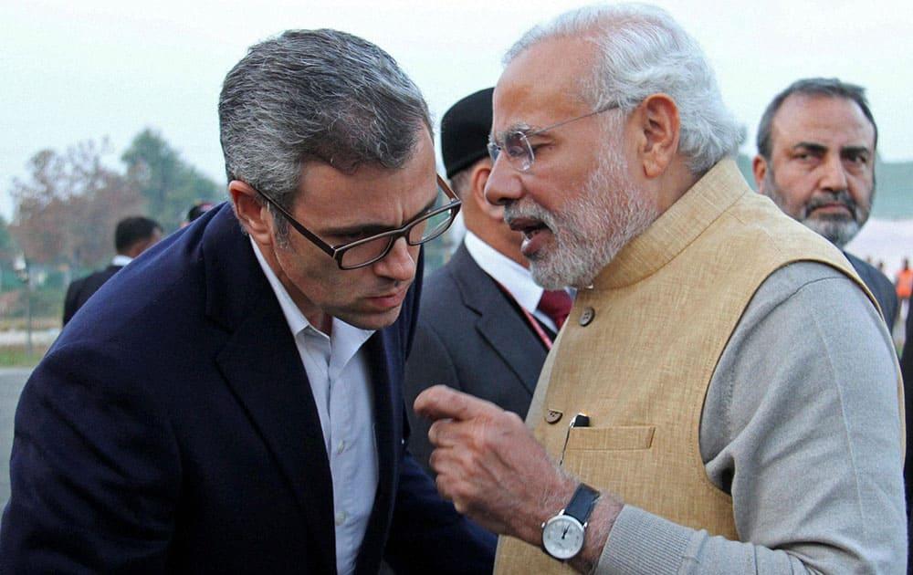 Prime Minister, Narendra Modi with Jammu and Kashmir Chief Minister Omar Abdullah in Srinagar.
