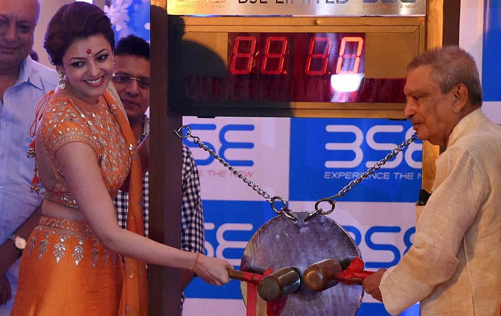 Bollywood actress Kajal Agarwal during the auspicious Muhurat trade on the first day of Diwali at the BSE ( Bombay Stock Exchange ) on Laxmi Poojan in Mumbai
