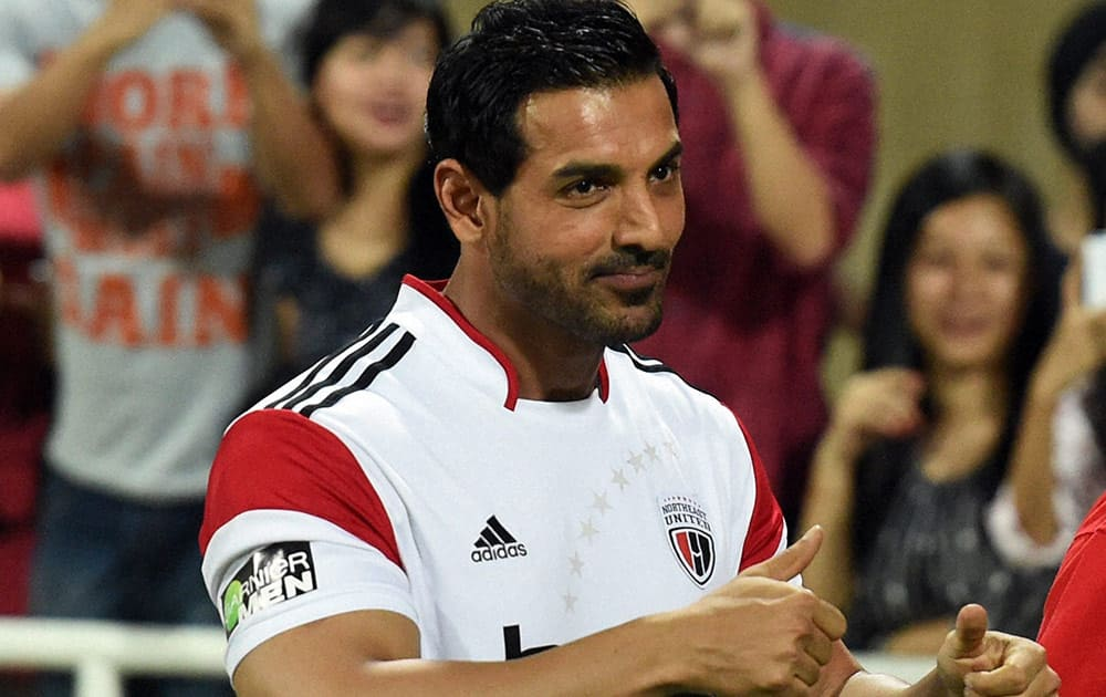 Bollywood actor and Northeast United FC owner John Abraham during the ISL match between Mumbai city FC and Northeast United FC.