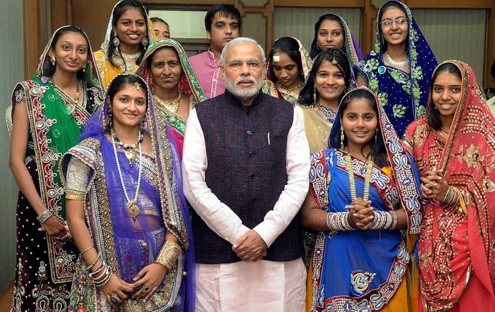 Prime Minister Narendra Modi with young learners of Jainism from Shanti-Kanak Shramanopasak Trust of Banaskantha in New Delhi.