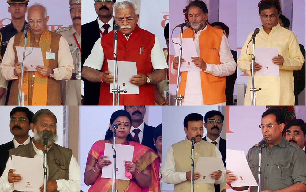 Combo- Haryana Governor Kaptan Singh Solanki administers oath to the new state Chief Minister Manohar Lal Khattar and six cabinet Ministers.