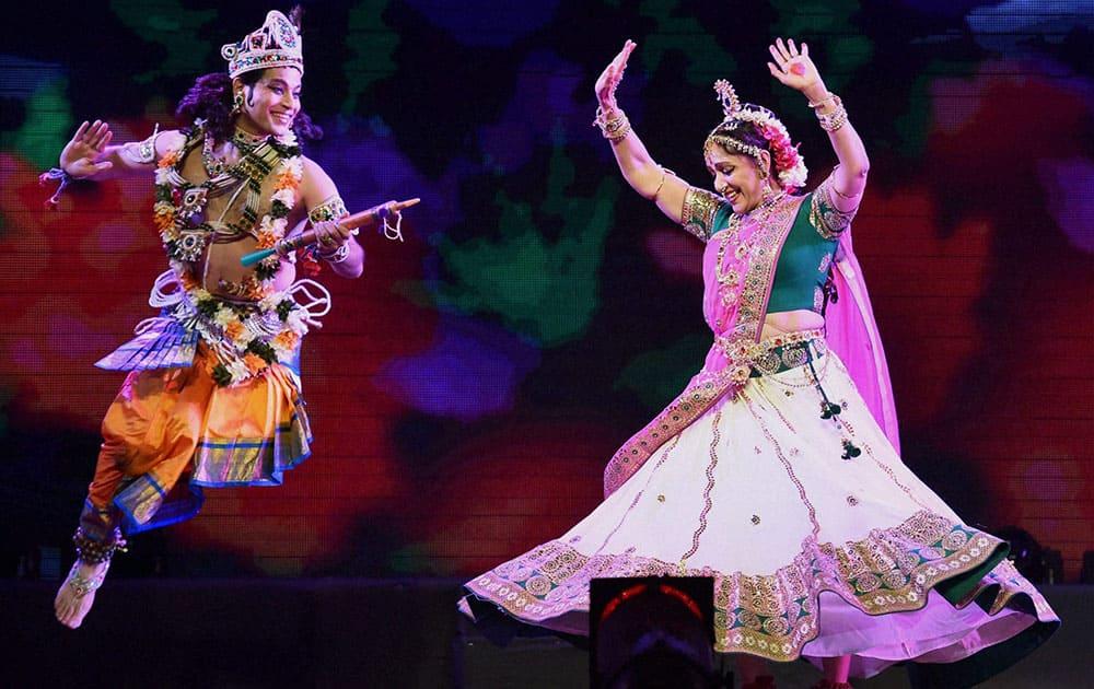 Actress and BJP MP Hema Malini perform at a programme in Mumbai.