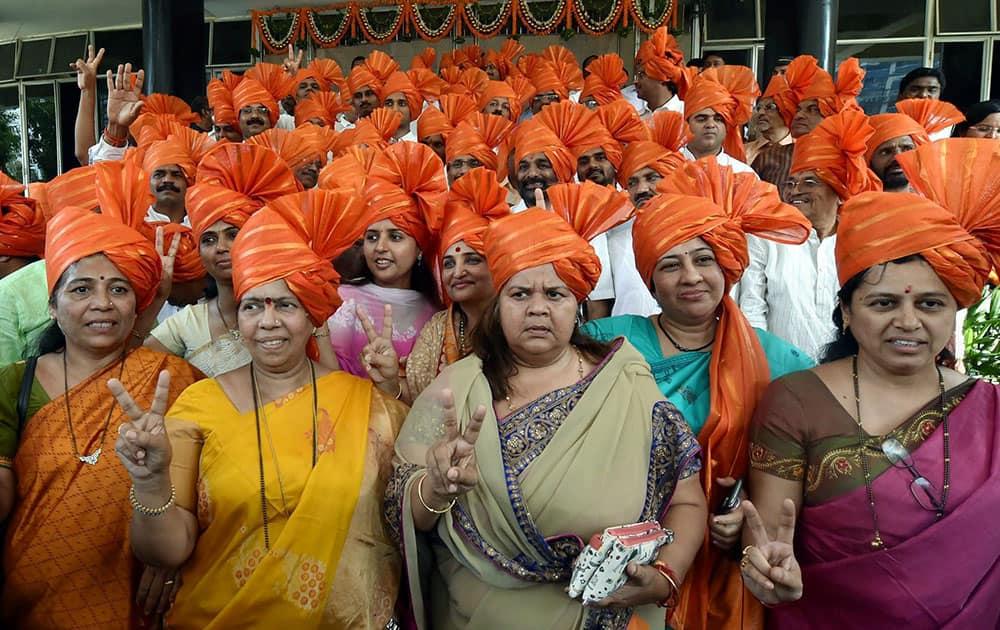 BJP MLAs at Vidhan Bhavan before the legislature party meeting in Mumbai.