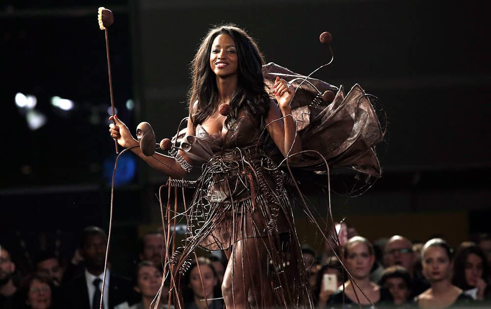 A model presents a chocolate dress during a show as part of the chocolate fair in Paris.