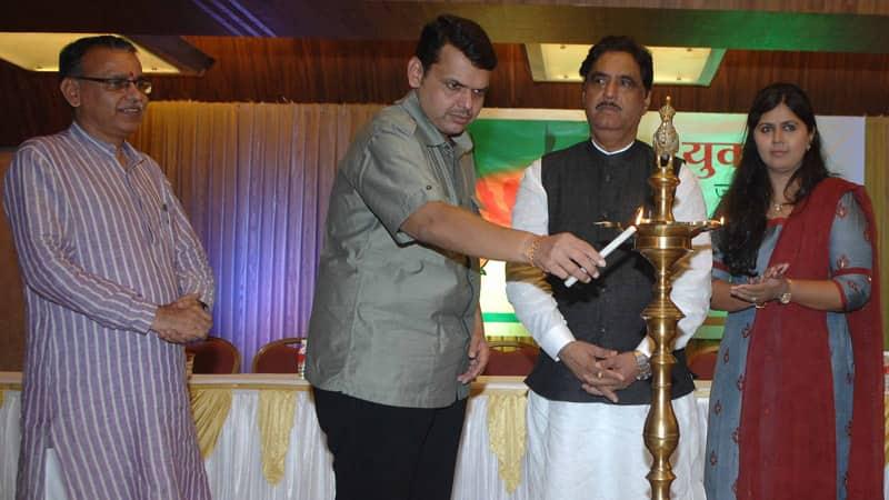 File Photo: Bhartiya Janata Yuva Morcha accession programme for newly elected officials and Pankaja Munde-Palwe website inaugration held at Mahila Mandal, Nariman Point. Gopinath Munde,Devendra Fadnavis,Vinod Tawde, Ashish Shelar, Pankaja Munde-Palwe & others were present.