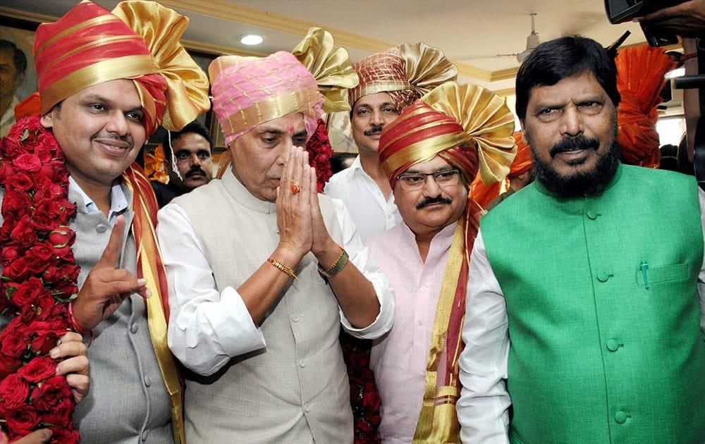 Home Minister Rajnath Singh announced Devendra Fadnavis as the new Maharashtra Chief Minister in Mumbai.