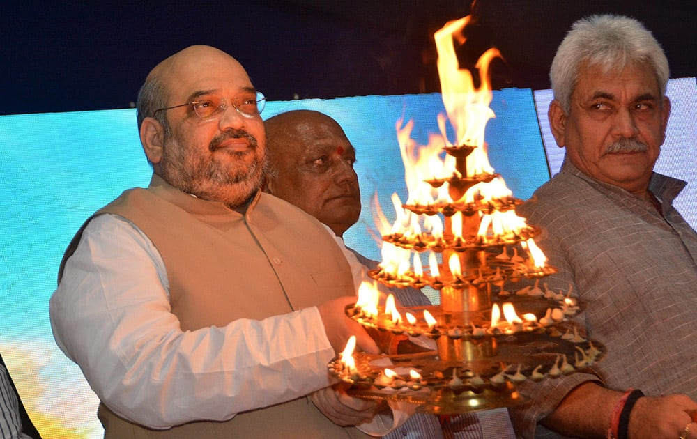 BJP President Amit Shah during Chhath Puja festival in Ahmedabad.