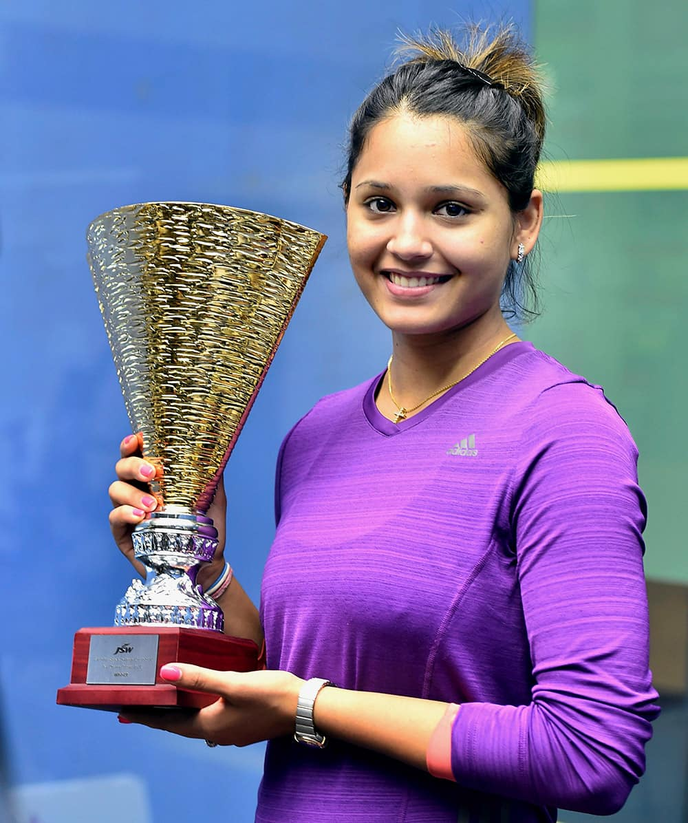 Squash player Dipika Pallikal poses with the trophy after her win over Japans Misaki Kobayashi in finals of JSW-PSA Challenger Squash tournament in Chennai.