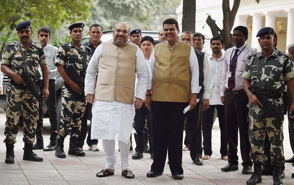 BJP President Amit Shah with Maharashtra Chief Minister- designate Devendra Fadnavis after a meeting in New Delhi.