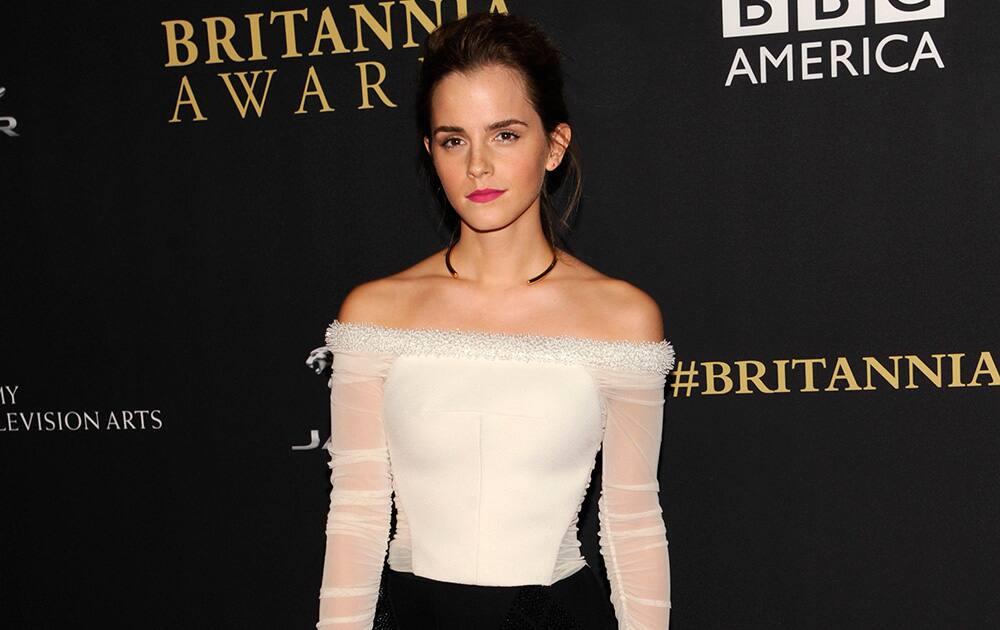 Emma Watson arrives at the BAFTA Los Angeles Britannia Awards at the Beverly Hilton Hotel.