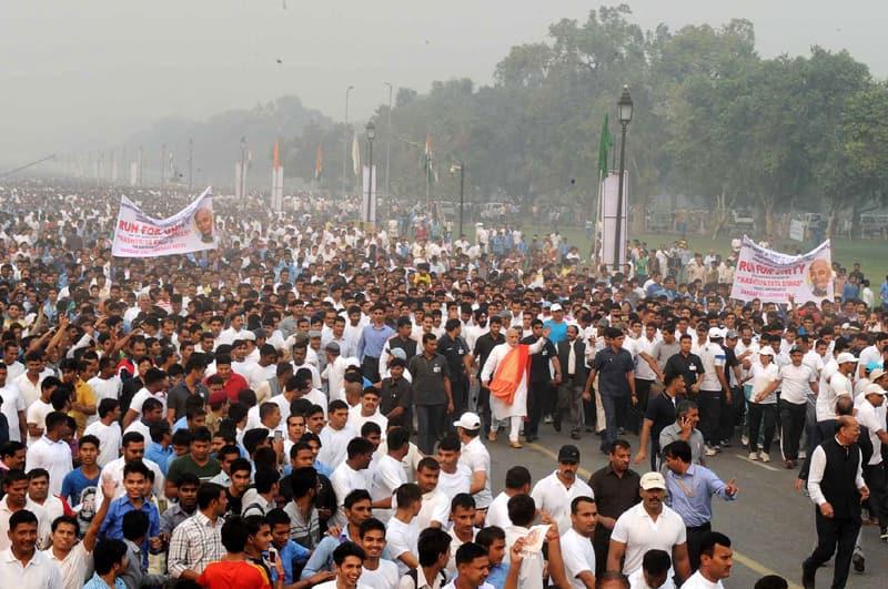 Prime Minister, Shri Narendra Modi at Run for Unity, at the Rajpath for Rashtriya Ekta Diwas Celebrations, in New Delhi. Pic Courtesy: http://pib.nic.in/