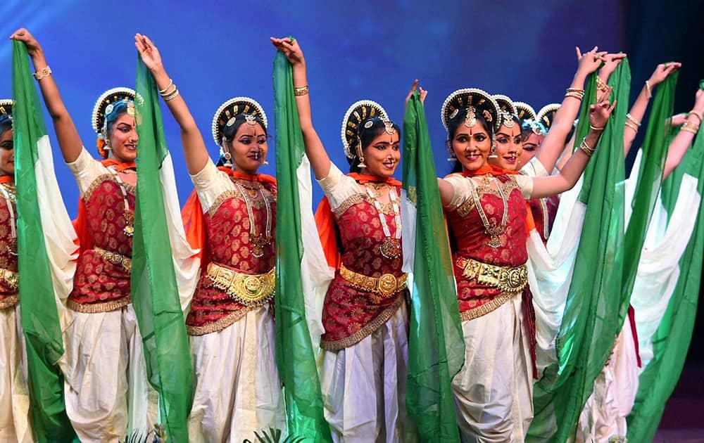 New Delhi: Girls perform during the 50th Anniversary of 1965 War Celebration, in New Delhi.