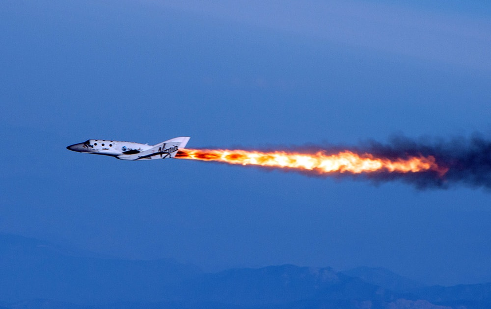 File photo provided by Virgin Galactic shows Virgin Galactic's SpaceShipTwo under rocket power, over Mojave, Calif. Virgin Galactic has reported an unspecified problem during a test flight of its SpaceShipTwo space tourism rocket.