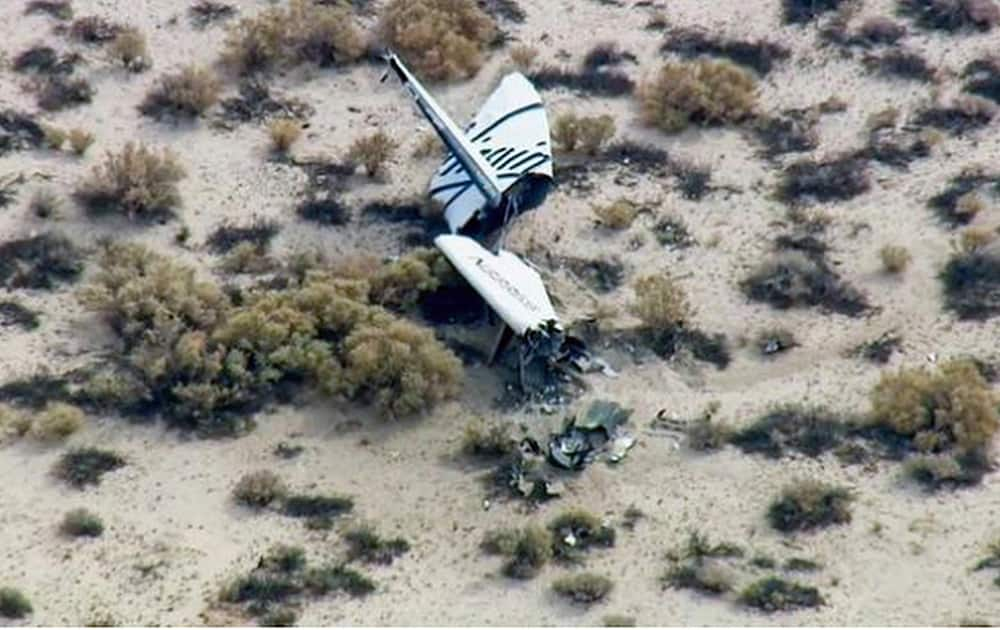 This image from video by KABC TV Los Angeles shows wreckage of what is believed to be SpaceShipTwo in Southern California's Mojave Desert. A Virgin Galactic space tourism rocket exploded after taking off on a test flight, a witness said Friday.