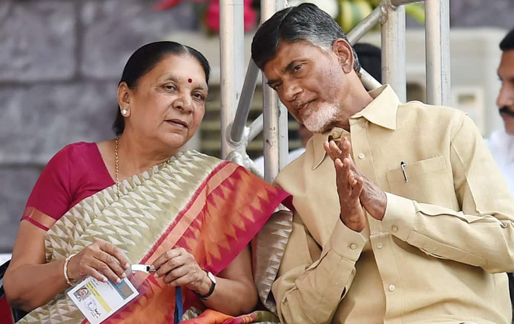 Gujarat CM Anandiben Patel and Andhra Pradesh CM Chandrababu Naidu at the swearing-in ceremony of new Maharashtra government in Mumbai.