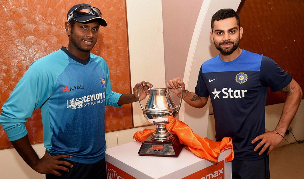 Virat Kohli and Sri Lankan Captain Angelo Mathews unveil the ODI Series Trophy on the eve of their 1st ODI Match at Barabati Stadium in Cuttack.