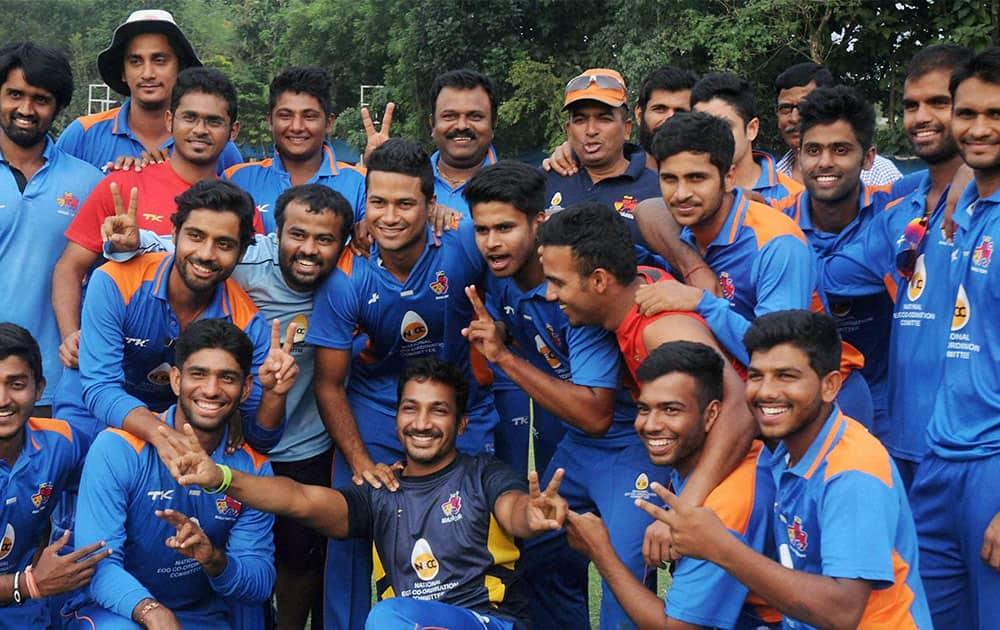 Mumbai team jubiliates after beating Karnataka in final of S K Acharya Challenger Trophy to commemorate 150 years celebration of Eden Gardens, in Kolkata.