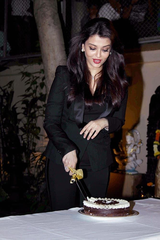 Bollywood actress Aishwarya Rai Bachchan celebrating her birthday celebrating her birthday with the media in Mumbai.