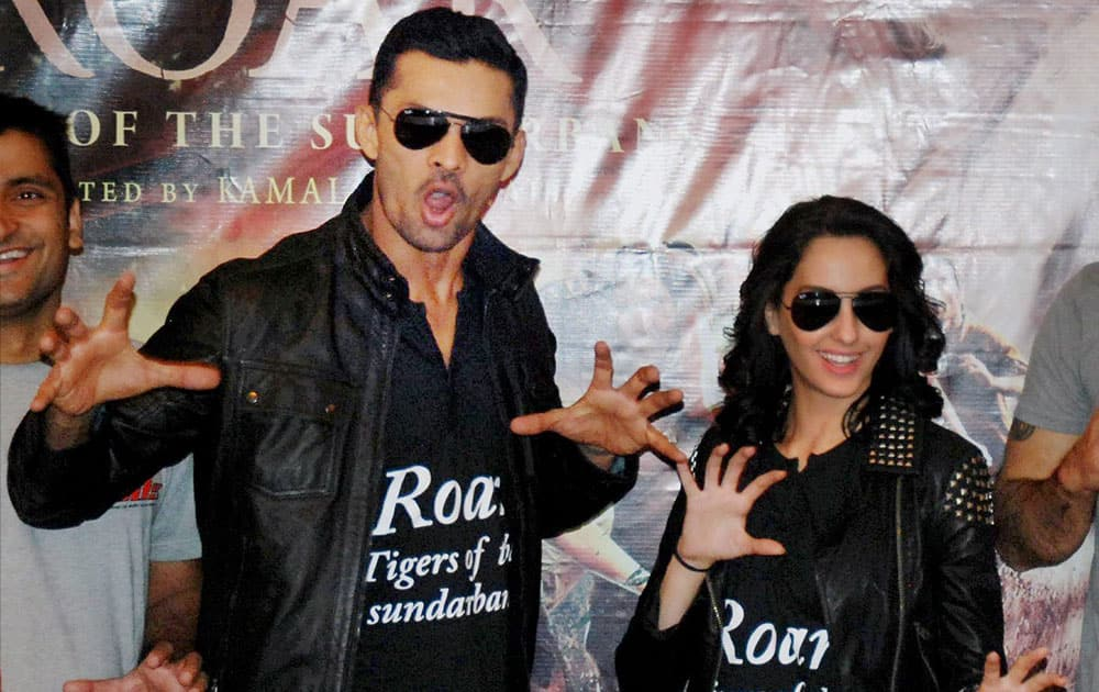 Actors Aaran Chaudhary and Nora Fatehi promoting their movie, Roar - Tiger of the Sundarbans, in Noida.