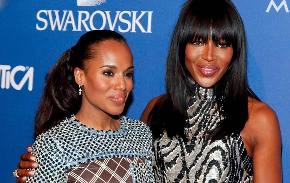 Kerry Washington, left, and Naomi Campbell, attend the 2014 ACE Awards at Cipriani 42nd Street in New York.