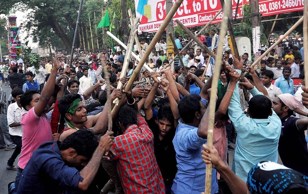 Muslims participate in a Muharram procession in Guwahati.