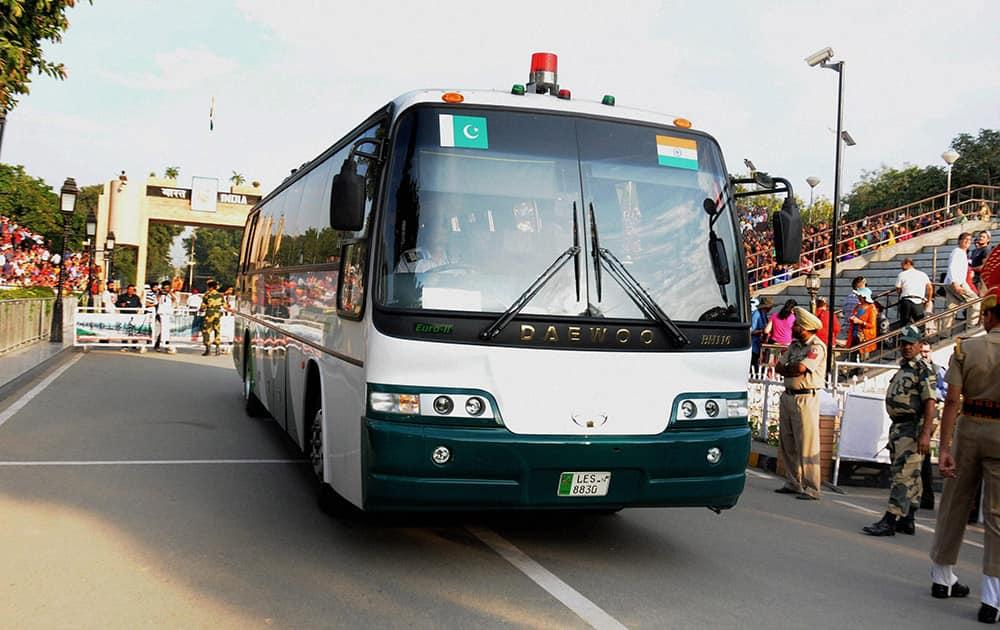 A Delhi-Lahore bus crossing the border gates at international border in Attari.