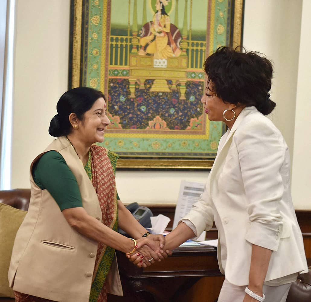 External Affairs Minister Sushma Swaraj shakes hands with Lindiwe Nonceba Sisulu, Minister for Human Settlement , South Africa during a meeting in New Delhi.