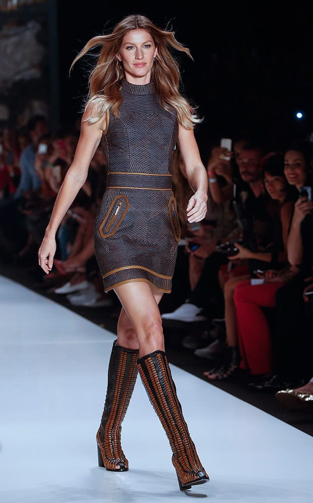 Brazilian model Gisele Bundchen wears a creation from the Colcci Winter collection during the Sao Paulo Fashion Week.