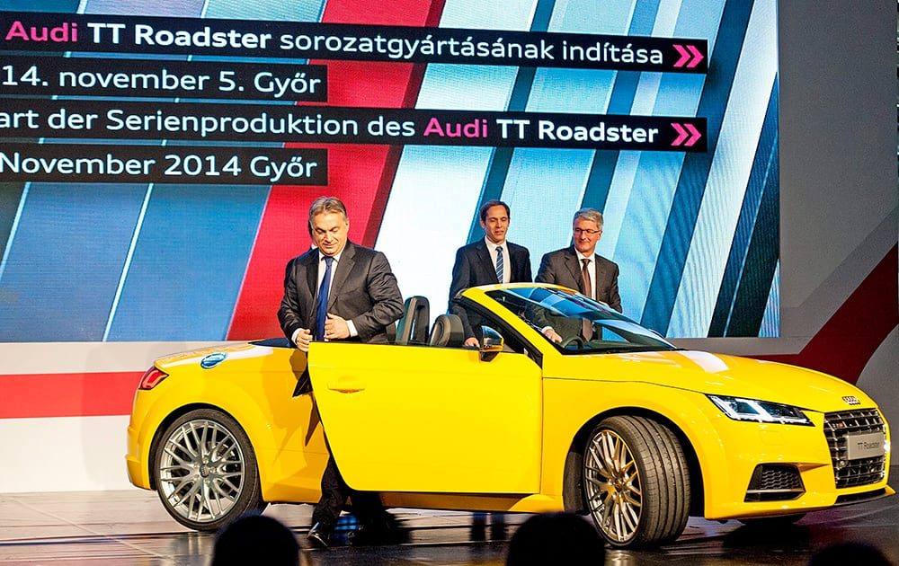 Hungarian Prime Minister Viktor Orban, and Chairman of Audi AG Rupert Stadler, attend the ceremonial start of the series production of the new Audi TT Roadster in Gyor, 120 kms west of Budapest, Hungary.