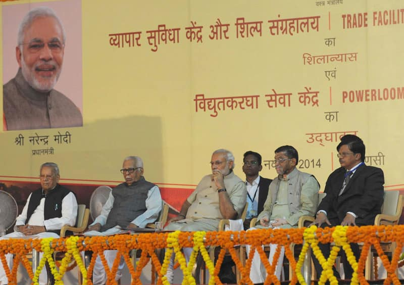 The Prime Minister, Shri Narendra Modi at the foundation stone laying ceremony of Trade Facilitation Center and Crafts Museum and Inauguration of Powerloom Service Center, at Varanasi, Uttar Pradesh.