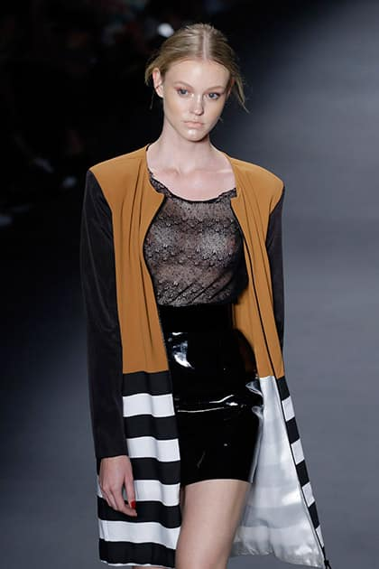 A model wears a creation from the Wagner Kallieno Winter collection during the Sao Paulo Fashion Week in Sao Paulo.