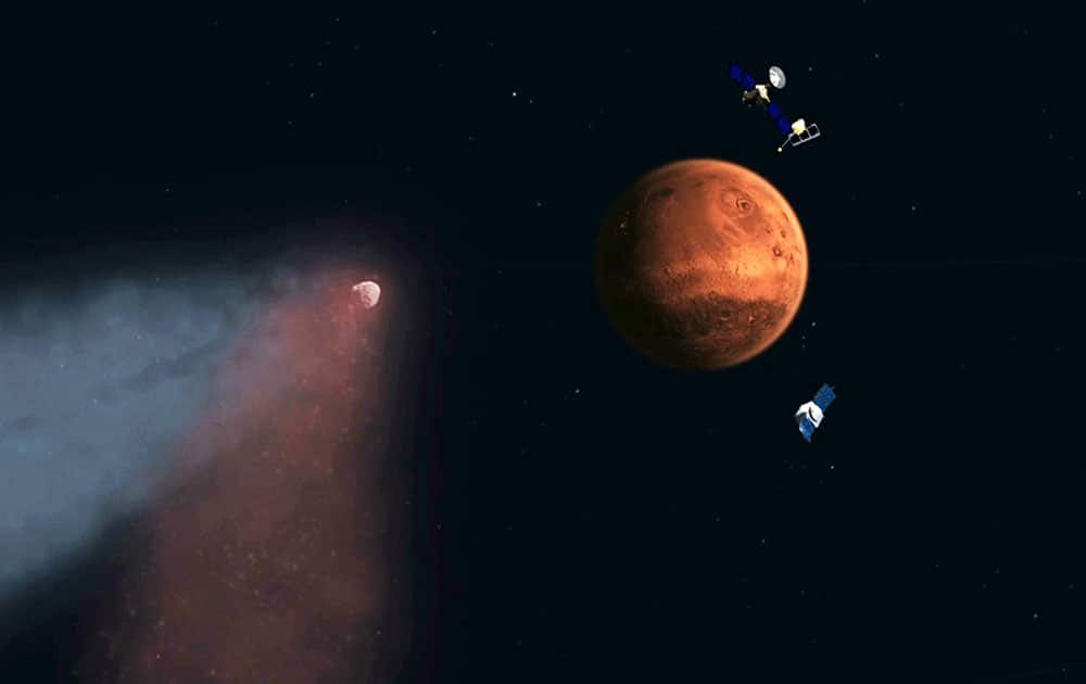 This handout artist's concept provided by NASA/JPL shows the Comet Siding Spring approaching Mars, shown with NASA's orbiters preparing to make science observations of this unique encounter. A pristine distant comet created a once-in-eight-million-year fireworks show on Mars and no humans were there to witness it.