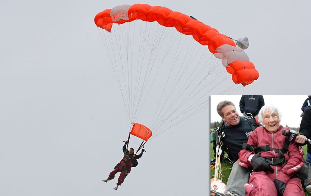 Eleanor Cunningham skydives with Saratoga Skydiving Adventures, in Gansevoort, N.Y., a day after her 100th birthday. It was Cunningham's third jump, after taking up the sport at age 90.