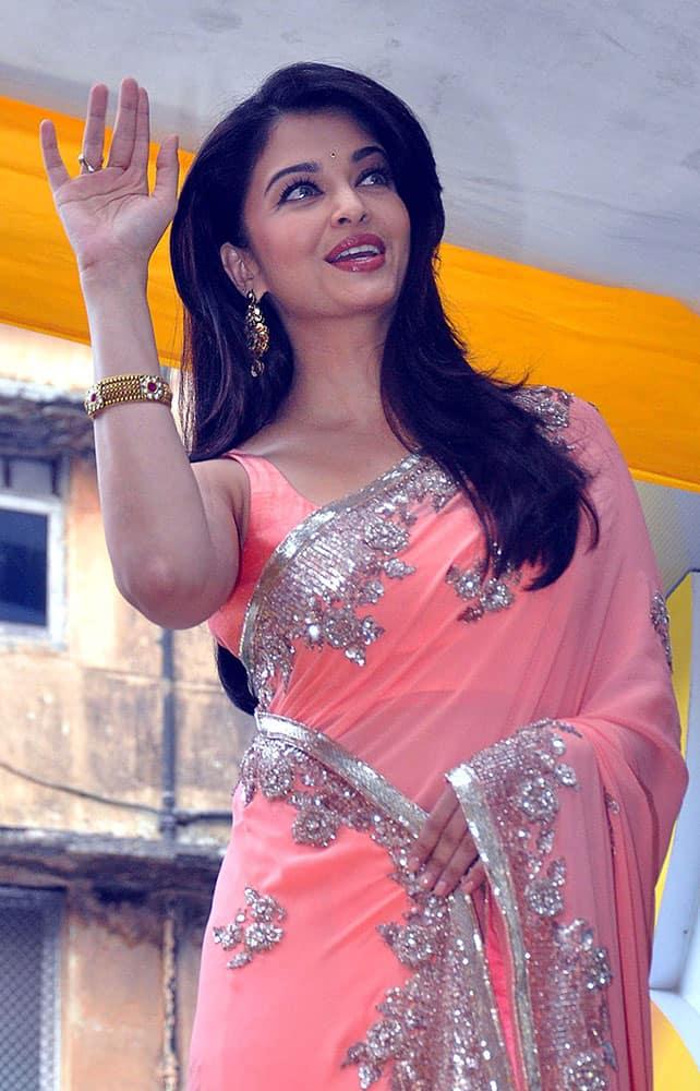 Bollywood actor Aishwarya Rai Bachchan at the opening of a jewellery showroom in Mumbai.