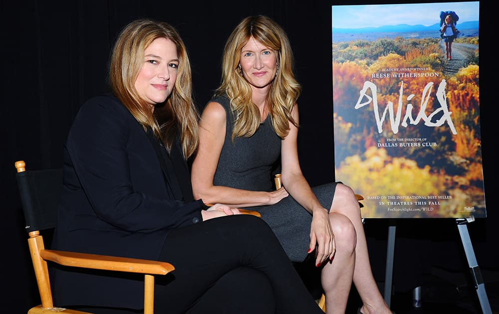 Producer Bruna Papandrea, left, and Laura Dern attend the AARP Movies for Grownups Film Showcase at Regal Cinemas L.A. LIVE  in Los Angeles.