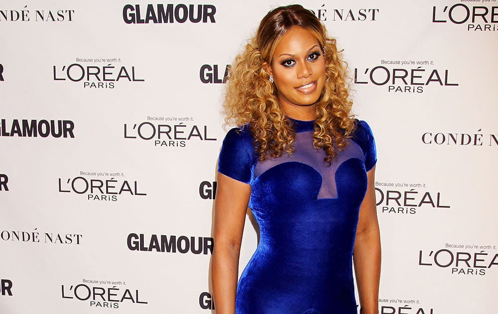 This image released by Starpix shows transgender actress Laverne Cox at the 2014 Glamour Women of the Year Awards, hosted by L'Oreal Paris, at Carnegie Hall, in New York.