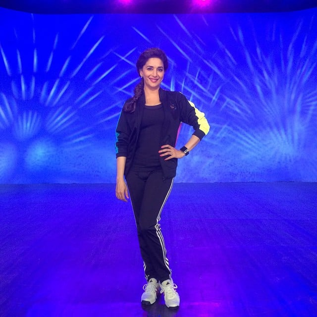 Madhuri Dixit Nene :- Ready for a workout? Lights, camera, action at Dance with Madhuri #DWM! -instagram