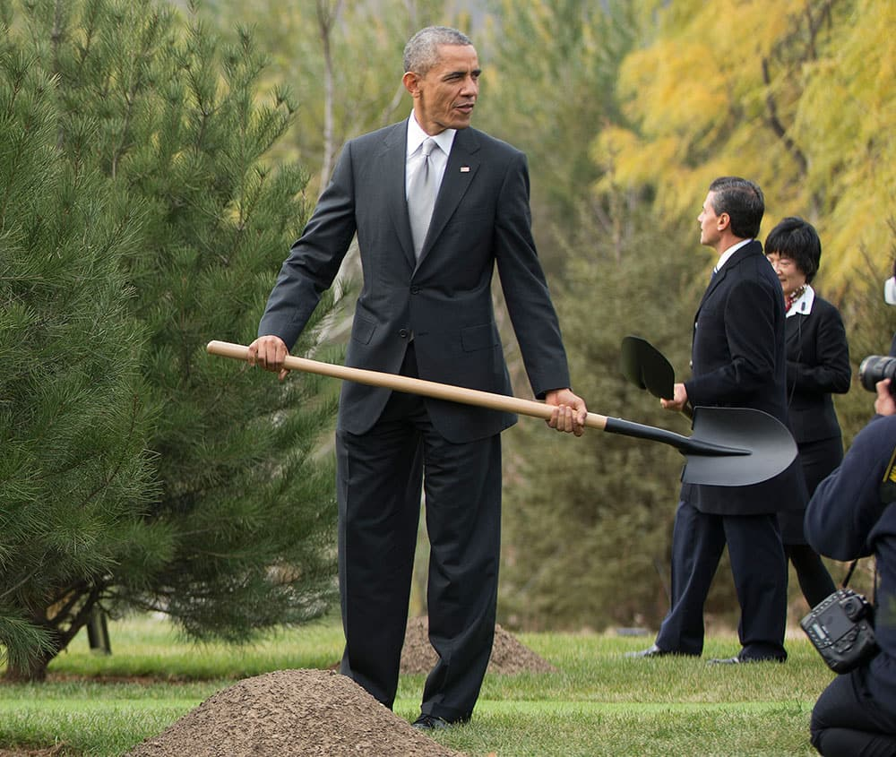 US President Barack Obama, and Mexican President Enrique Pena Nieto, hold shovels as they join other world leaders for a tree planting ceremony at Friendship Lawn, Yanqi Lake for the Asia-Pacific Economic Cooperation (APEC) Summit.