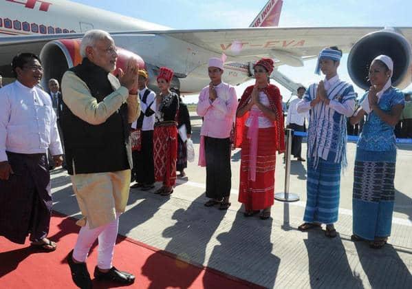 PM Narendra Modi arrives in Nay Pyi Taw, Myanmar.